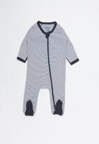 Cotton On - Nb long sleeve zip throu - white & navy