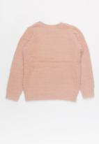name it - Kids girls long sleeve star knit sweat - pink & silver