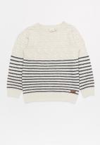 name it - Kids girls long sleeve knit sweat - navy & cream