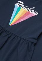 name it - Frikke rainbow print long sleeve tunic - navy