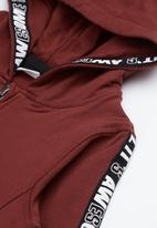 name it - Kids boys zip through hoodie - burgundy