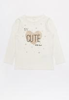 name it - Kids girls star top - white