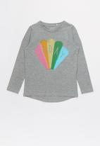 name it - Frodina ls rainbow print - grey