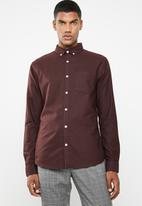New Look - New oxford slim fit shirt - burgundy