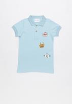 POP CANDY - Printed short sleeve golfer - blue