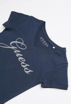 GUESS - Short sleeve script bling tee - navy & silver
