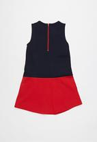 POLO - Stacey colour blocked dress - navy & red