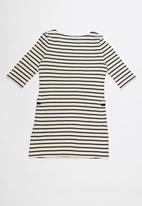 POLO - Harper striped dress - neutral & navy