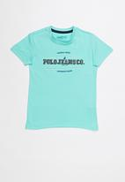 POLO - Clyde applique tee - turquoise