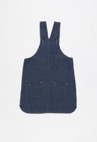 Twin Clothing - Short sleeve dungaree dress - blue