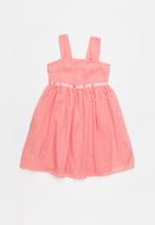 Twin Clothing - Combo embossed flower print dress - coral