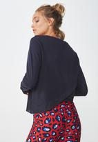 Cotton On - Cross back long sleeve top - navy