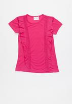 POP CANDY - Short sleeve tee with frill detail - pink