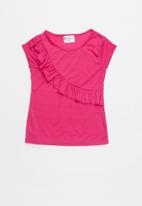 POP CANDY - Shorts sleeve tee with frill - pink