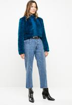 Vero Moda - Valli bolero short faux fur jacket - blue