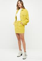 Missguided - Button through cord skirt - yellow