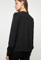 ONLY - Alicante pleat flounce blouse - black