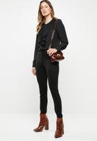 ONLY - Alicante pleat flounce blouse - black