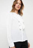 ONLY - Alicante pleat flounce blouse - white