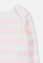 Cotton On - Mini long sleeve bubby - white & pink