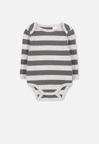 Cotton On - Mini long sleeve bubby - grey & charcoal