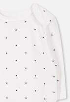 Cotton On - Mini long sleeve bubby - white & black
