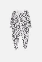 Cotton On - Mini zip through romper - white & black
