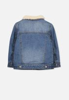 Cotton On - Jessie denim sherpa jacket - blue