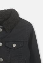 Cotton On - Jessie sherpa denim jacket - black
