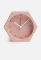 Present Time - Hexagon alarm clock - concrete pink