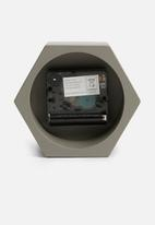 Present Time - Hexagon alarm clock - concrete dark grey