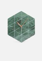 Present Time - Marble hexagon wall clock - green