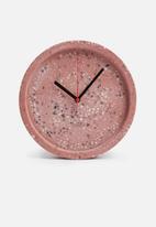 Present Time - Tom wall clock - terazzo pink