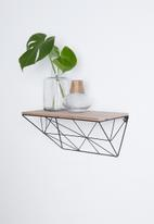 Present Time - Wooden shelf with iron raster - black