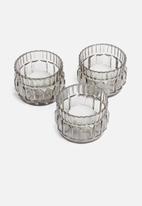 Sixth Floor - Gracie glass votives set of 3 - grey