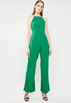 Missguided - 90s Neck wide leg jumpsuit - green