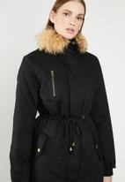 Revenge - Drawstring jacket with faux fur collar - black