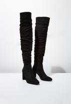 Cotton On - Faux leather knee lengthslouch boot - black