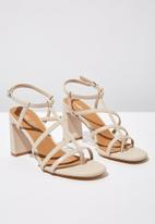 Cotton On - Faux leather strappy toe post heel - neutral