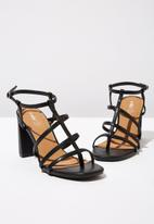 Cotton On - Faux leather strappy toe post heel - black