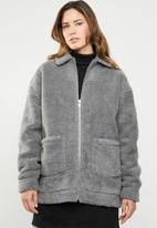 Missguided - Oversized zip through borg jacket - grey