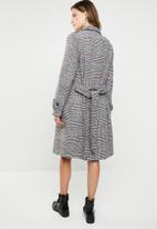 Missguided - Check formal belted trench coat - multi