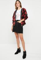 Supré  - Hooded check jacket - red & black