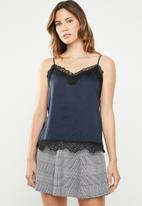 ONLY - Lace detail cami - navy