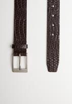 Superbalist - Faux croc leather belt - brown