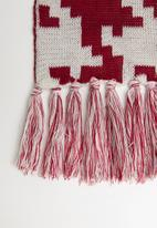 Superbalist - Houndstooth scarf - white & burgundy