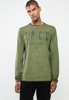 S.P.C.C. - Shadow stripe logo tee with dirty dye - green
