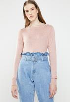 Vero Moda - Milda long sleeve o-neck button knit - pink
