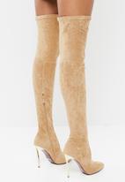Plum - Thigh high stiletto boot - brown