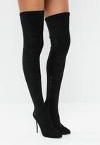 Plum - Thigh high stiletto boot - black